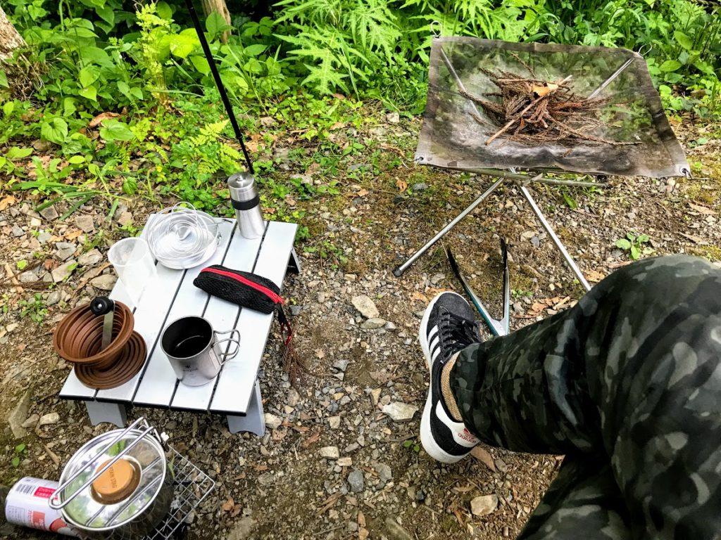 日影沢キャンプ場焚き火火種