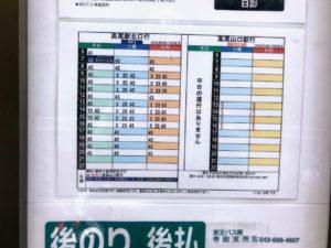 日影バス停時刻表
