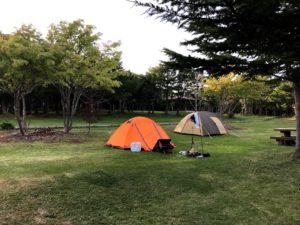 速攻でテント設営してと